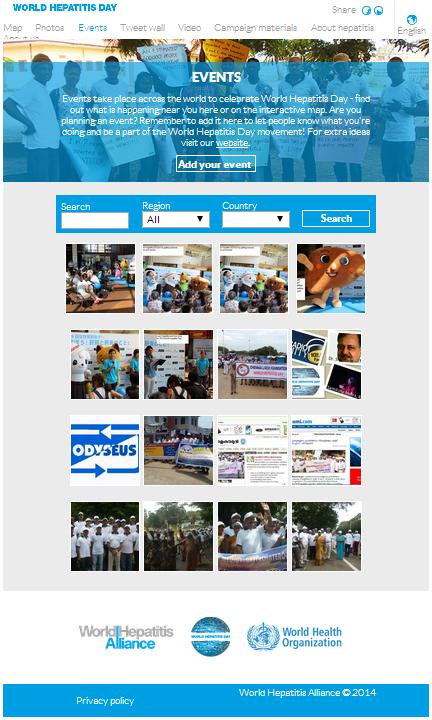 世界肝炎連盟のホームページで肝炎デーのイベントが紹介されました